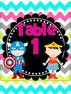 Super Hero Table Signs *bright chevron on white* Superhero Kindergarten, Superhero Classroom Theme, Kindergarten Class, Classroom Themes, Teaching Activities, Teaching Ideas, Library Themes, Rainbow Background, Teaching First Grade