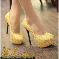 sapatos scarpin amarelo