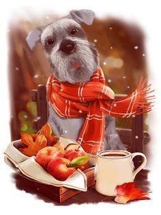 animated, animation, coffee, gif анимация, good morning, mira, word art, анимация, блеск, гифка, доброе утро, картина, мои анимации, надписи, снег, собака
