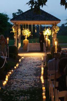 wedding outside at dusk