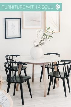 Marble Top Table $518 Breakfast would taste much better in a dining space like this! We are loving this pairing of soft neutrals with black.  📷: @jessiinteriors Pretty And Cute, Big And Beautiful, A Table, Dining Table, Nadeau Furniture, Dining Decor, Wishbone Chair, Marble Top, Small Spaces