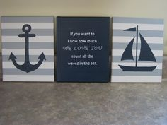 nautical nursery wall decor baby boy girl nautical 8x10 paintings nautical decor sailboat anchor whale decor nautical theme count the waves on Etsy, $50.00