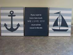 nautical nursery wall decor baby boy girl nautical 8x10 paintings nautical decor sailboat anchor whale decor nautical theme count the waves on Etsy, $50.00