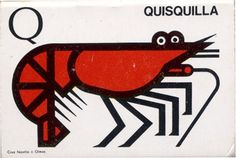 shrimp matchbox illustration by Jose Maria Cruz Novillo + Olmos
