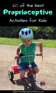 These proprioceptive activities are awesome! They are just what my kid needed to get the input he was seeking. Now he can focus more during school, and gets in less trouble because he is getting the proper proprioceptive input! Proprioceptive Activities, Proprioceptive Input, Motor Activities, Sensory Activities, Therapy Activities, Infant Activities, Activities For Kids, Sensory Play, Sensory Rooms