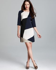 DKNYC Three Quarter Sleeve Dress with Contrast Print | Bloomingdale's