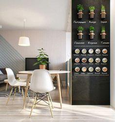 Detalle cocina con pared pintada en pizarra y especies decorativas