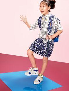 J.Crew girls' Wendy shirt in dot and evening primrose skirt.