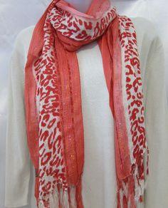 White & Orange Rectangle Scarf