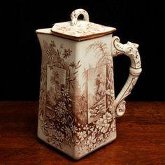 #antique DAMAGED Antique Ridgways Vistas Coffee Tea Pot Teapot #zibbet