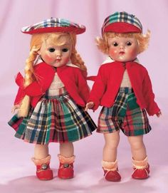 """Pair,Ginny as """"Steve"""" and """"Eve"""" from Brother and Sister Series by Vogue 8"""" (20 cm.) Hard plastic socket head,brown sleep eyes,painted lashes,five piece body,he with blonde bobbed curly hair,and she with long pigtails and bangs,wearing matching costumes of plaid skirt or shorts,red jacket,plaid caps,socks,red shoes. Pristine condition with bright rosy cheeks,perfect coiffure and bright fresh costumes with original labels. Vogue,the dolls were named """"Steve"""" and """"Eve"""" from the Brother and…"""