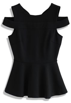 d6bc39a5a02b Fetching Cold-shoulder Peplum Top in Black Stage Outfits, Retro Chic, Black  Tops