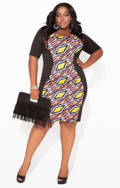 ae941b22666 Ashley Stewart Aztec Panel Ponte Dress and Black Fringe Clutch