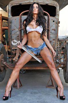 "Tin Sign ""big Wrench"" Metal Decor Wall Art Pin-up Girl Auto Shop Garage for sale online Pin Up Girls, Hot Girls, Bikini Fitness Models, Bikini Models, Bikini Pics, Sexy Girl, Lany, Britney Spears, Sexy Legs"