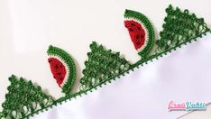 Watermelon Sliced Kitchen Towel Model Making Turkish Narrated Video # . Watermelon Slices, Baby Cardigan, Lace Making, Pearl Beads, Crochet Lace, Knitting, How To Make, Handmade, Thoughts