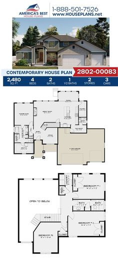 Newly exclusive to our website is Plan 2802-00083, a stunning Contemporary design. This plan is featured by 2,480 sq. ft., 4 bedrooms, 2.5 bathrooms, a mud room, a kitchen island, and an office concept. To learn more about Plan 2802-00083 go to our website! Contemporary House Plans, Contemporary Bathrooms, Contemporary Design, Floor Plan Drawing, Basement Layout, Floor Framing, Floor Layout, Best House Plans, Flat Roof