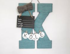 "Letter ""K"" Hospital Door Hanging, Girl or Boy, Chalkboard Birth Info, Personalized Name"