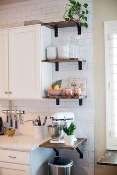 pretty shelf in small kitchen