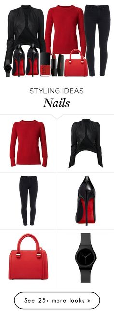 """girls night out"" by j-n-a on Polyvore featuring Burberry, ISABEL BENENATO, Christian Louboutin, Paige Denim, Victoria Beckham and NARS Cosmetics"