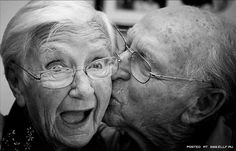 Photography  Old people kissing Old love