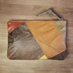 OOAK repurposed vintage leather patchwork clutch // reMade USA by Shannon South // made in USA #recycled #upcycled #leather #clutch