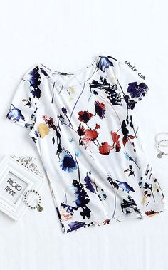 e54739fe662af Multicolor Print Short Sleeve T-shirt Fall Fashion Outfits