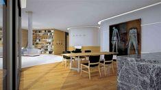 grammiki-diakosmisi-3 Γραμμική α: Σχεδιασμός και διακόσμηση διαμερισμάτων  στη Ζυρίχη.  Μοντέρνο minimal design κουζίνας. Διακόσμηση Living room Oversized Mirror, Divider, Interior Design, Room, Furniture, Home Decor, Nest Design, Bedroom, Home Interior Design