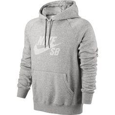 Nike SB Herren Hoodie Icon Pullover Stripe - DK GREY HEATHER/WHIT 1