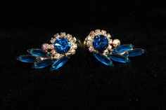Confirmed Royal Blue AB Rhinestone D & E by #ThumbprintVintage  Gorgeous vintage earrings to dress up for the holidays and turn every head in the room!!