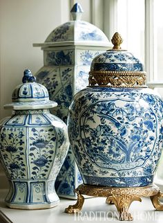 """Blue-and-white also brings Chinese decoration into play . . . on ginger jars resting on the window sill."" D.C. Design House. Design by Marika Meyer. Photo: Gordon Beall. ""Great Gatherings: Showhouse Dinner with International Flair"" written by Krissa Rossbund. Traditional Home."