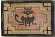 American hooked rug, early Century, depicting a grinning Cheshire cat with a big bow tie in a stepped geometric border, x Rug Hooking Designs, Rug Hooking Patterns, Cat Rug, Hand Hooked Rugs, Cat Quilt, Antique Illustration, Penny Rugs, Floor Rugs, Cats And Kittens