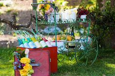 Rustic garden cart as serving station