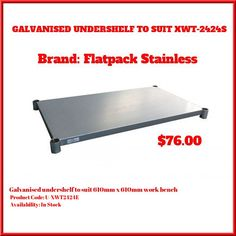 Galvanised Undershelf to suit Work Bench Accessories Undershelf to suit Galvanised Undershelves Bench, Coding, Stainless Steel, Suits, Suit, Wedding Suits, Desk, Bench Seat, Sofa