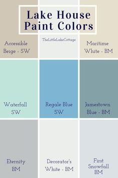 Bright blues and calming neutrals used inside our lake house We used both Benjamin Moore and Sherwin Williams paints for our Lake House Paint Colors Accessible Beige Mari. Beach Cottage Style, French Country Cottage, Cosy Cottage, Cottage House, Lake Cottage Living, Coastal Cottage, Lac Champlain, Rustic Lake Houses, Haus Am See