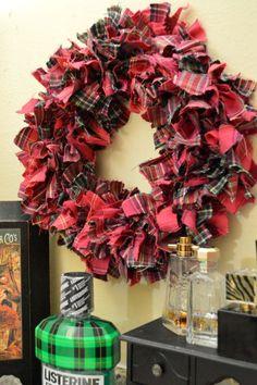 Add a fun plaid touch to any room with this DIY plaid rag wreath! Diy Fall Wreath, Xmas Wreaths, Christmas Decorations, Wreath Ideas, Christmas Ideas, Homemade Christmas, Holiday Ideas, Rag Garland, Holiday Crafts