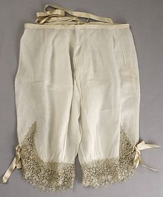 Cotton drawers with lace and ribbon trim, French, 1870s.