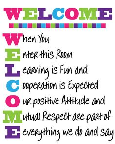 WELCOME Classroom Sign Instant Download by JustForYouInvites, $3.00