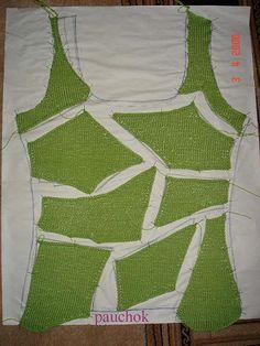 How to make a mesh crochet top Crochet Fabric, Freeform Crochet, Irish Crochet, Crochet Stitches, Dress Patterns Uk, Sewing Patterns, Crochet Patterns, Crochet Jacket, Crochet Blouse