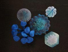 kusumotom_brooch_bluemulti Polyester fabrics, from Mariko Kusumoto on Colossal