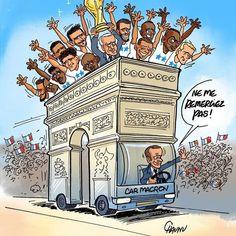Chaunu (2018-07-17) France: les Bleus sur les Champs Élysées- Emmanuel Macron Dessin Animé, Politique, Caricatures, Champions, Showgirls
