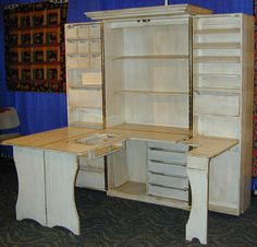 Sewing Cabinet Open Antique White