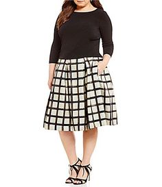 Eliza J Plus 34 Sleeve VBack Top and Plaid Midi Skirt #Dillards