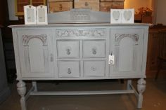 Antique Grey Shabby Chic Sideboard, in Annie Sloane French Linen