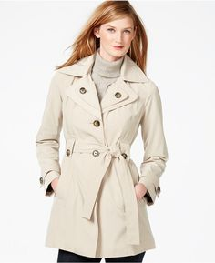 London Fog Layered-Collar Belted Trench Coat