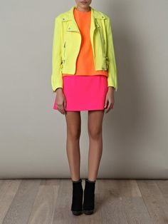 neon yellow orange and pink