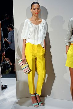 Love this whole look, especially the clutch and shoes. JCrew, NYFW.