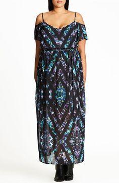 Plus Size Women's City Chic Print Cold Shoulder Maxi Dress