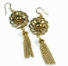 repurposed jewelry pinterest | ... Flower Tassel Earrings, Repurposed Vintage Jewelry. $22.00, via Etsy