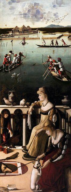 Carpaccio (Venice, ca1400-1500) ~ Two Venetian Ladies on a Terrace (Due dame veneziane e caccia in laguna) ~ formerly known as Two Courtesans ~ In quest'opera si confrontano due scene: le due dame che attendono su una loggia in primo piano e sullo sfondo una scena di caccia. Il quadro è ricco di dettagli e, nei colori, risente dell'influenze della scuola veneziana.