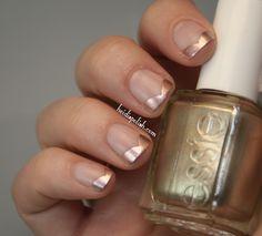 Modern french mani with matte base and Essie Penny Talk  http://heidispolish.com/essie-mirror-metallics-matte-nail-art/